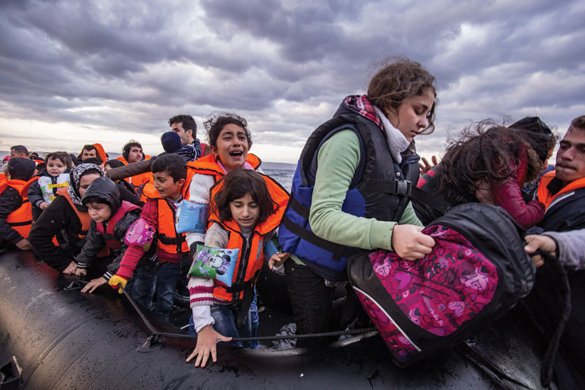 Refugees escaping by boat with storm clouds overhead