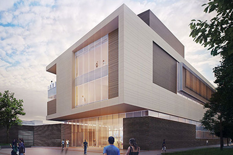 Rendering of the side of Wasserman Football Center