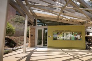 Sun shines through skylights at the entrance to the La Kretz Garden Pavilion welcome center.