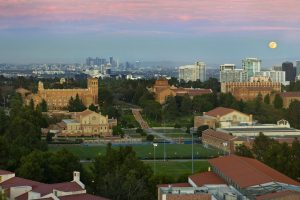 Evening view of main campus facing east from Hedrick Hall