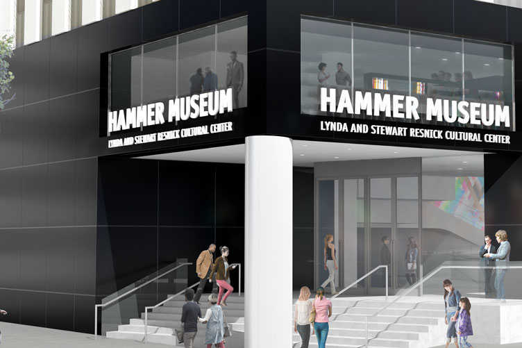 Rendering of the corner entrance to the Hammer Museum