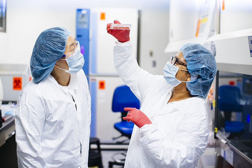 Two researchers in lab coats, gloves, masks, and caps, examine a sample in a petri dish.
