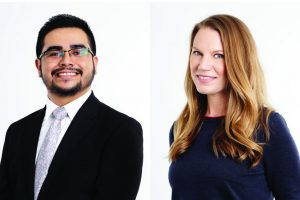 Two headshots: on the left, a Latino man with short hair and glasses, wearing a suit and tie; on the right, a white woman with long hair, wearing a dark top